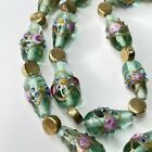 Vintage Light Green Wedding Cake Art Glass Bead Necklace Gold Tone Accents G162