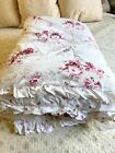Simply Shabby Chic Sunbleached Pink Roses Twin Ruffled Bedspread Comforter