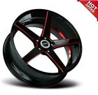 NEW 4ea 20x85 Strada Wheels Perfetto Gloss Black Candy Red Milled Rims 20 A2