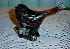 FENTON PURPLE AMETHYST BIRD ON A LOG w GOLD ACCENTS PERFECT CONDITION