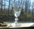 EARLY 1800s HAND BLOWN BALUSTER STEM WINE GLASS GROUND PONTIL 10 CUT PANELS