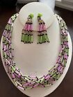 Vintage Japan Necklace Clip earrings Set GREEN PINK GLASS BEADS HAND STRUNG