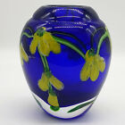 Vintage Heavy Cobalt Blue Hand Blown Art Glass Vase w Yellow Flowers