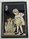 Vtg Art Deco Tinsel Foil Reverse Painting on Glass Little Girl Watering Flowers