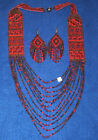 Mesa Style Beaded Necklace  Earring Set Handmade Native Regalia Red  Brown 19