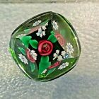 Charles Kaziun Jr Glass RED Rope Rose Gold Bee Flowers FACETED Paperweight