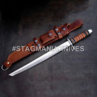 John Henry HAND FORGED J2 STEEL HUNTING TANTO KATANA SWORD STACKED LEATHER