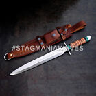 John Henry HAND FORGED D2 STEEL HUNTING DAGGER KNIFE STACKED LEATHER  RESIN