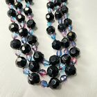 Vintage Beautiful Black  Hombre Faceted Glass Bead 3 Strand Necklace HH101