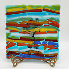 Vintage Colorful Vibrant Fused Art Glass Square Clock Wall Clock
