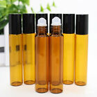 10ml Empty Amber Roller Ball Roll On Glass Bottles Pulse Point Essential Oils
