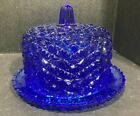 Cobalt Blue Glass Daisy and Button Covered Butter Dish Cheese Plate