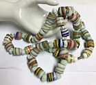 Amazing Vintage Striped Colorful GLASS Necklace