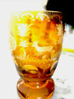 German Czech Bohemian amber glass conical vase acid etched with deer 19th c