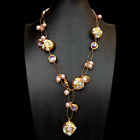 White Keshi Pearl Pink Pearl Purple Murano Glass Chain Pearl Y Drop Necklace