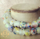 Confetti Design Recycled Glass Frost Necklace Matte Gems Clear w Rainbow Colors