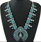 SILVER NATIVE AMERICAN TURQUOISE SQUASH BLOSSOM NECKLACE LEAF FILAGREE HOT