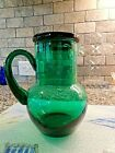 Teal Green HANDLED Glass Guest TUMBLE UP Set Pitcher Tumbler Bed