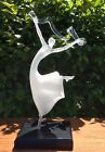 MILON TOWNSEND Frosted Art Glass Sculpture Ballet Dancer with Clear Ribbon