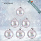 Iridescent Clear Glass Ball Fillable Baubles Xmas Wedding Tree Hanging Ornament