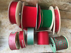 Vintage Lot of 9 Velvet  Satin Red  Green Solids Pattern Double Sided