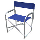 Playa aluminum director chair and blue fabric chair for outdoor pool beach