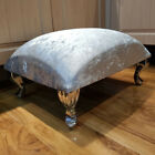 Plain Footstool Pouffe Upholstered Fabric Foot Stool Seat Bench Foot Rest