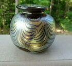 Signed Henry Summa Studio Glass Iridescent Pulled Feather Small CABINET Vase