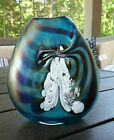 Signed HAT Herb A Thomas Studio Art Glass BLUE Pulled Feather Spatter VASE