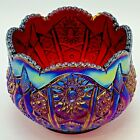 Vtg Indiana Carnival Glass Heirloom Sunset Ruby Red Hobstar Arches Bowl Dish 6