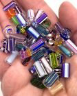 50 ART GLASS BEADS Assorted Cane Furnace Blown Glass Colors Styles Lot of 50