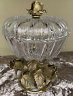 ORNATE Glass Candy Dish with gold leaf roses and base