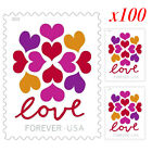 100 Pcs 2019 USPS Hearts Blossom Love Forever Stamps 5 x 1 Sheet of 20 Stamps