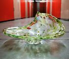 Green Murano Style Folded Twisted Art Glass Bowl Millefiori Silver Speckles