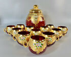 Bohemian Glass Ruby Red Gold Enameled Large 4 Quart Punch Bowl  12 Cups
