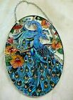 Stained Glass look Window Suncatcher Peacocks XLT Cond Handpainted USA