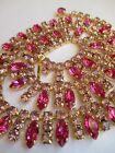 Gorgeous Glitzy Vintage Pink 60s Gold tone necklace Great condition Dazzling