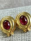 Vintage FENDI 18K Gold Plated and Artistic Glass Cabochon Clip on Earrings