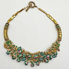 Unsigned Artisan Art Glass Green Floral Bead Statement Necklace