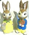 Easter Rabbit Girl and Boy Bunny Statues Hand Painted Hobbyist Piece 1976 Vintag