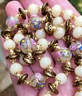 NEW Murano WEDDING CAKE Glass BEADED NECKLACE Ivory Colors Hand Blown Beads 24