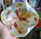 Stunning Vintage Art Glass Bowl Turned n Sides Abstract Floral Design Murano