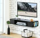 Black Wall Mounted Media Console Floating TV Stand Component Shelf