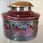 ANTIQUE BOHEMIAN GLASS INKWELL RED IRIDESCENT OIL SPOT BRONZE TOP WITH OVERLAY