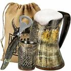Viking Culture Ox Horn Mug Shot Glass and Bottle Opener 3 Pc Set Authentic 1