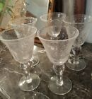 Set Of 5 LARGE Handblown Glass Blown Glass Wine Glasses Water Goblets EXCELLENT