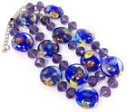 Hand Blown Blue Glass Beaded Necklace with Purple Facetted Beads 19+
