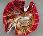 WOW Vintage MCM Murano Cased Art Glass Bowl Dish Red  Colored Swirls with Gold
