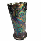 Carnival Glass Flower Vase with Peacock Floral Iridescent Pattern 8 Inches Tall