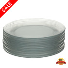 Glass Dinner Plates Catering Pack Round Kitchen Guest Dishes Set Clear 12Pcs